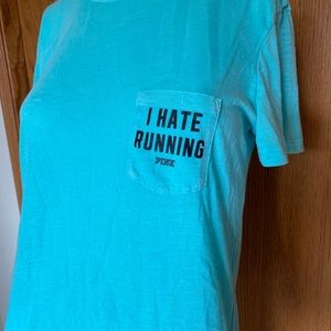 Pink I hate running tee • extra small